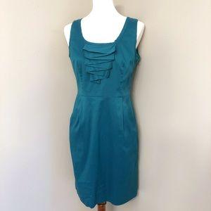 Ann Taylor Teal Fitted Sleeveless sheath Dress 8P
